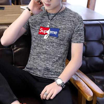 男士时尚短袖T恤衫夏季男装韩版宽松休闲打底衫上衣圆领大码胖子T