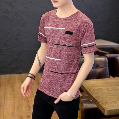 短袖T恤男2020夏季新款男士韩版修身圆领百搭休闲青少年打底