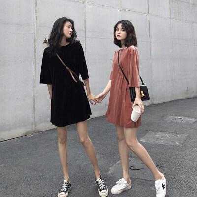 2020春夏新款女式韩版金丝绒宽松显瘦短袖套头打底T恤连衣裙