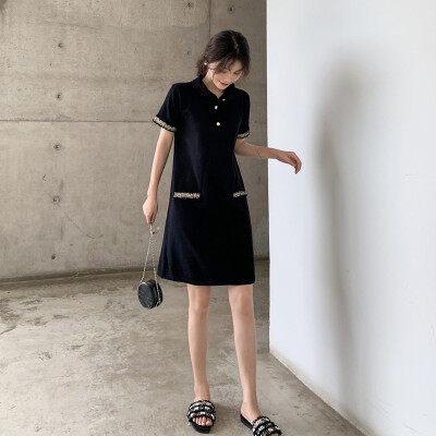 2020春季新款女装女式小香风短袖针织连衣裙超仙显瘦打底裙女