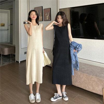 2020春夏新款女装女式针织吊带连衣裙中长过膝背心裙打底裙女