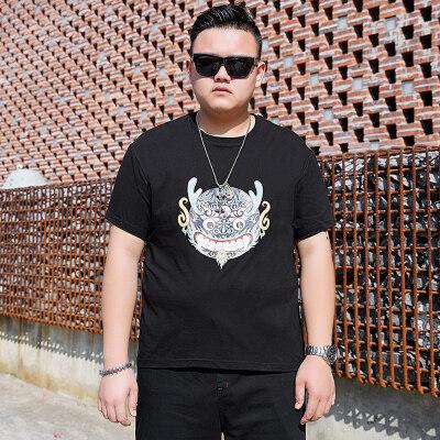 大码男装加肥加大T恤胖子夏季薄款短T男式宽松半袖体恤圆领打底衫