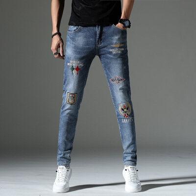 牛仔裤男刺绣新款修身弹力小脚高端裤潮牌韩版休闲百搭国潮男青年