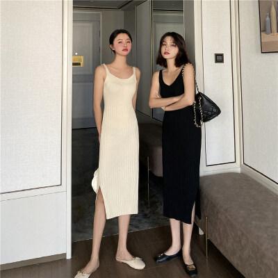 2020春夏新款韩版女装女式吊带连衣裙针织修身显瘦中长背心裙