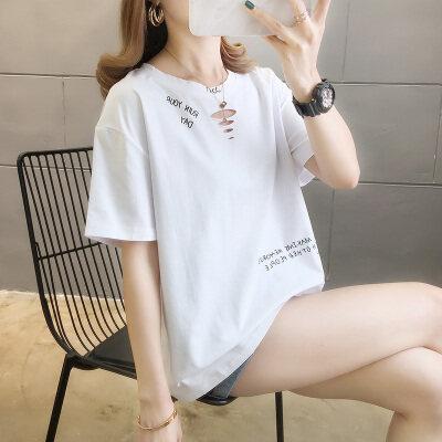一件代发女装 2020夏季新款破洞字母印花短袖T恤宽松胖MM