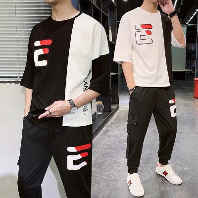 短袖男潮牌 潮流2020新款夏季套装男士休闲两件套青少年t恤