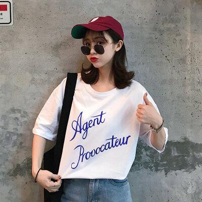 2020夏季原宿风宽松大码中长款韩范字母短袖T恤女学生
