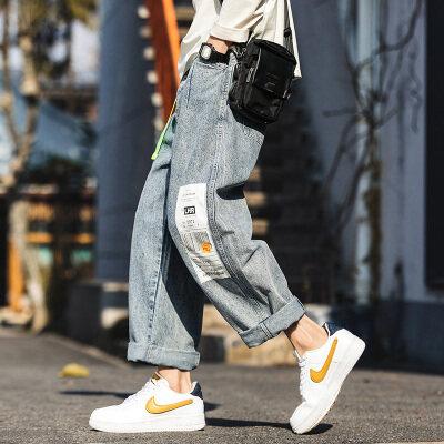 2020春夏新款贴标时尚飘带直筒阔腿牛仔裤