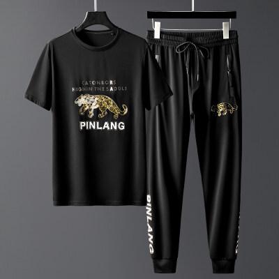 2020新款潮流男士休闲运动套装丝光棉一套帅气搭配烫钻印花欧美风