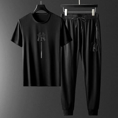 轻奢男装休闲男套装2020春夏季短袖运动青年冰丝衣服潮流秋款刺绣