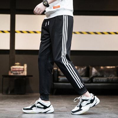 M-8XL休闲裤男韩版潮流九分裤春秋季运动宽松束脚针织长裤子