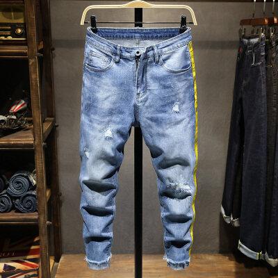 牛仔裤男春季新款弹力破洞修身休闲九分小脚裤韩版潮流青少年裤子