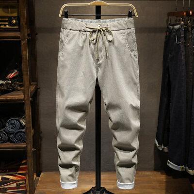 牛仔裤男春季新款弹力松紧腰系带韩版休闲长裤青少年百搭时尚裤子