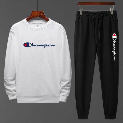 冠军套装男士休闲两件套春款长裤运动套装男圆领卫衣长袖T恤 0