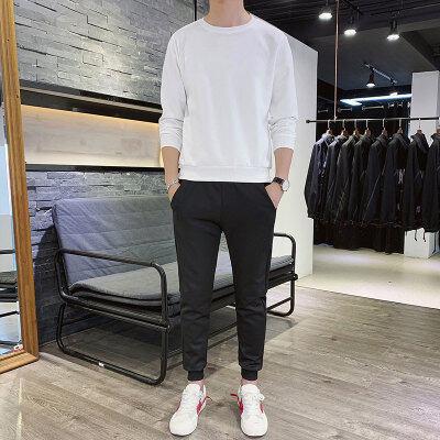 公版男士休闲两件套春款运动套装男圆领卫衣长袖T恤定制LOGO