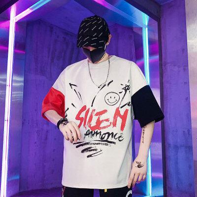 国潮风2020夏季新款五分袖纯棉T恤情侣百搭嘻哈男学生短袖T