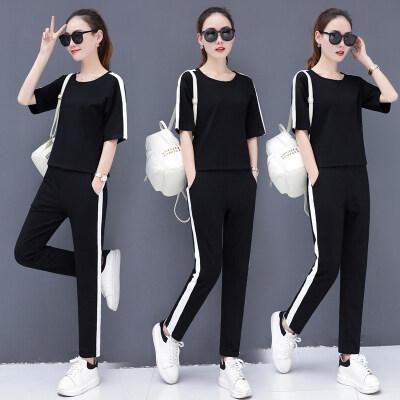 现货一件代发运动套装女夏2020新款洋气时尚显瘦纯棉宽松