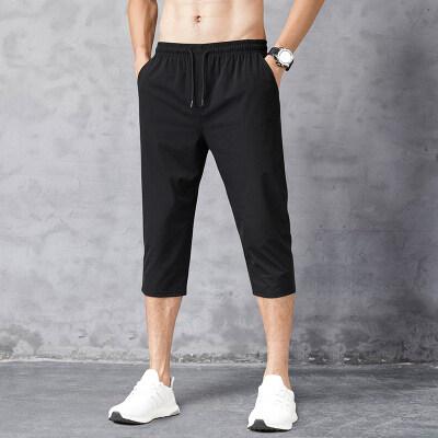 男士裤子冰丝超薄透气休闲裤男七分裤夏季薄款运动短裤潮牌7分裤