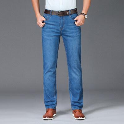 春夏季牛仔裤男士宽松弹力直筒长裤韩版潮流休闲中年时尚百搭裤仔