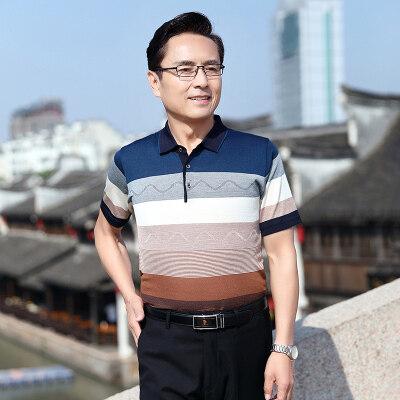 夏季中年男士短袖t恤衫中老年男装爸爸装大码冰丝父亲节老人衣服