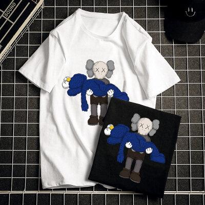 2020新款夏季潮流时尚宽松纯棉短袖t恤男宽松大码休闲打底衫
