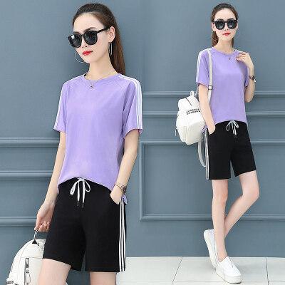 现货女装旅游运动休闲套装女2020夏新款纯棉夏天显瘦时尚洋气