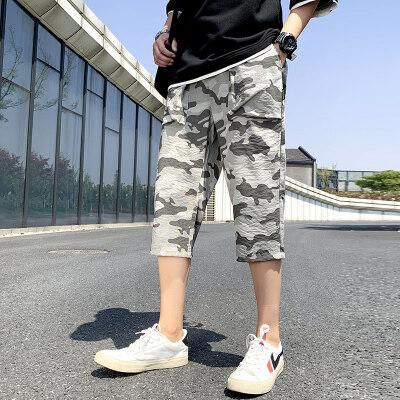 2020新款韩版潮流时尚港风迷彩休闲裤男士帅气宽松大码哈伦裤