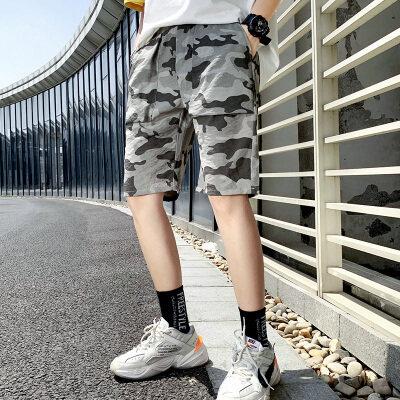 2020新款潮牌帅气迷彩工装休闲裤男宽松大码哈伦裤夏季五分酷