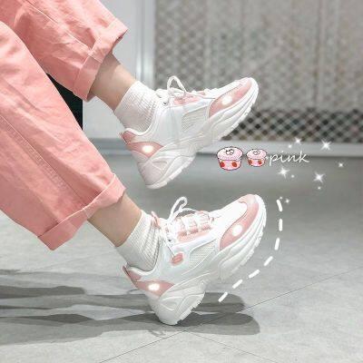 棉鞋粉学生加绒老爹鞋女鞋ins仙女风百搭增高厚底网红休闲运动鞋
