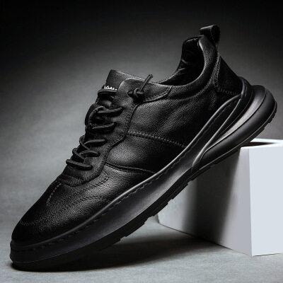 纯黑男鞋棉鞋休闲皮鞋韩版潮流百搭男士工作潮鞋冬季加绒保暖英