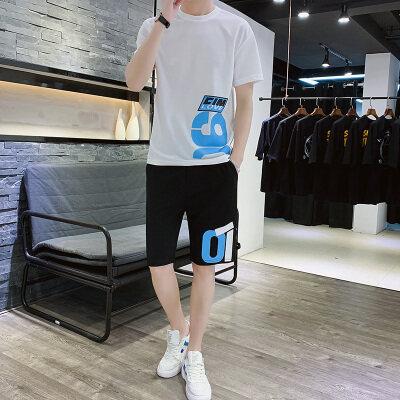 2020新款夏季男士休闲运动套装短袖T恤上衣宽松两件套