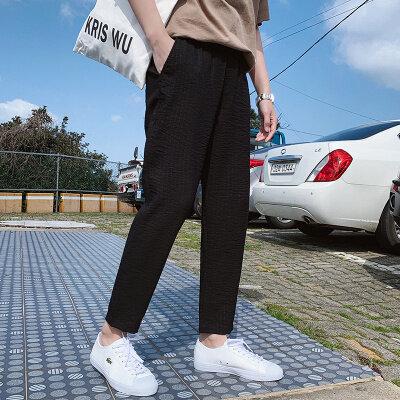 2020新款港风潮流休闲裤男士宽松哈伦裤子男生时尚百搭九分裤