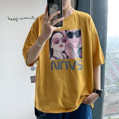 2020夏季新款短袖T恤男港风文艺宽松原创韩版潮牌上衣T百搭