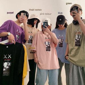 港风潮牌短袖T恤100%棉男女同款五分袖T665-P25