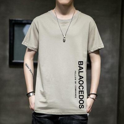 韩版男女同款字母印花宽松大码港风原创纯棉T恤