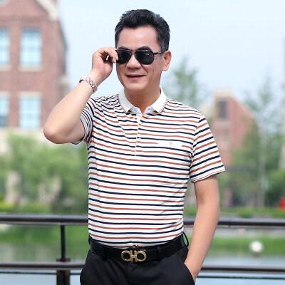 夏季男士短袖t恤爸爸夏装中年人上衣男中老年半袖POLO衫男