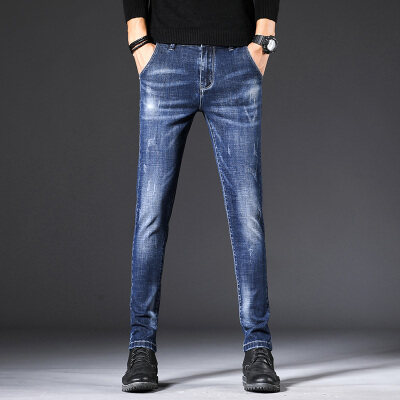 爆板男士牛仔裤修身潮牌休闲款式小脚韩版潮流长裤