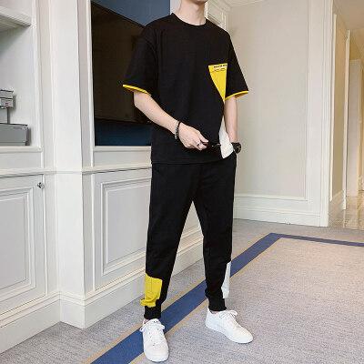 男士春夏季新款短袖长裤运动休闲套装韩版潮流时尚百搭