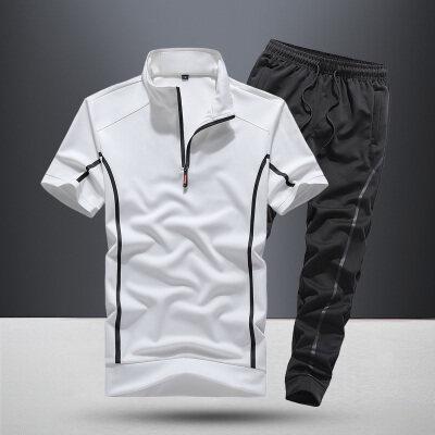 33889新款男士男款户外健身运动休闲速干两件套长裤套装