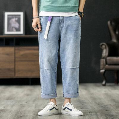 2020春季新款浅色直筒宽松九分牛仔裤男潮牌百搭加肥加大码哈