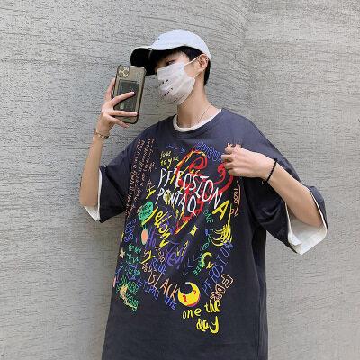 港风-何  T20866-P30  100%棉  2020夏季新款短袖男