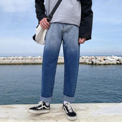 男士牛仔裤扎染韩版潮流牌直筒宽松百搭阔腿ins渐变色老爹裤男