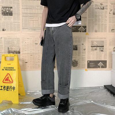 阔腿直筒宽松牛仔裤男春港风韩版潮流长裤子百搭帅气潮牌ins