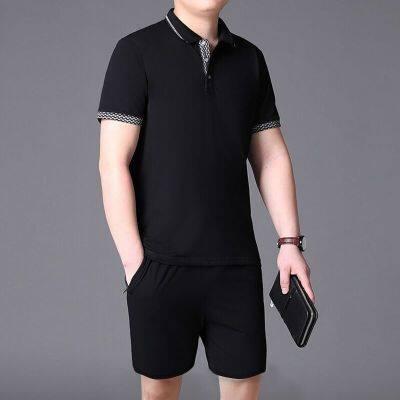 中老年运动套装男POLO衫纯棉短袖五分裤t恤休闲两件套爸爸