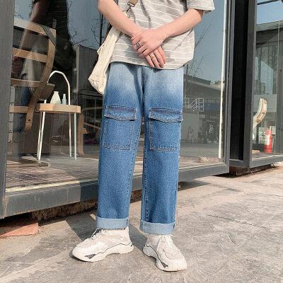 春季潮流新款ins裤子男士宽松直筒渐变牛仔裤潮牌港风坠感阔腿
