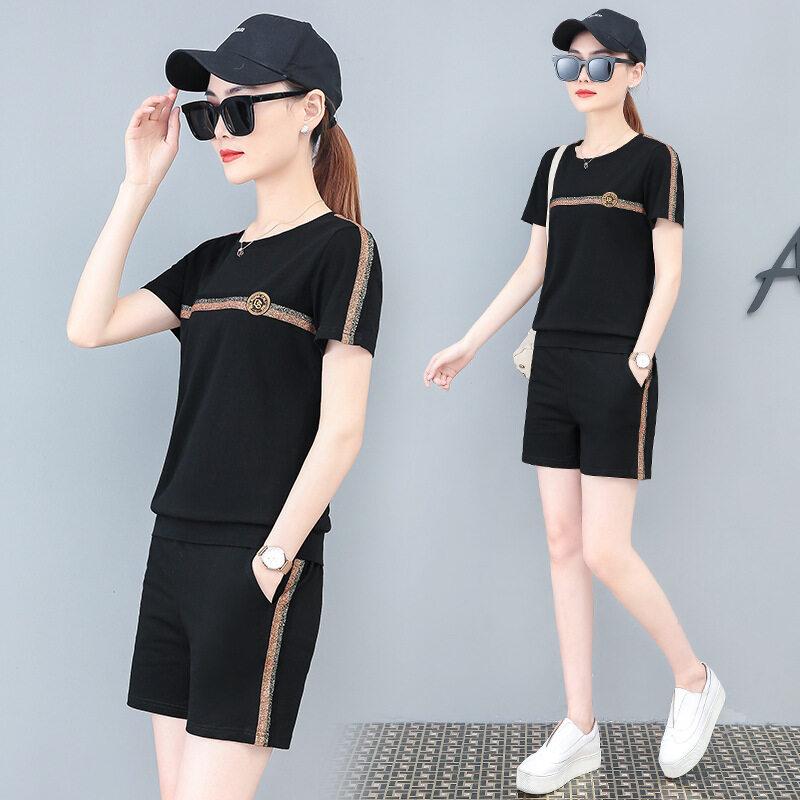 DSHF8212款短裤套装图荣夏季款95棉短袖休闲套装女韩版时尚短裤跑步服运动两件套女装