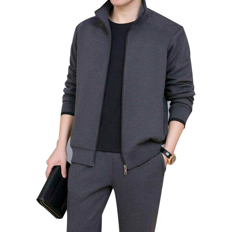 D192-2男春秋运动套装两件套休闲套装男韩版修身中老年套装爸爸两件套
