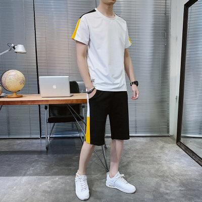 夏季新款男士休闲运动服套装韩版潮流搭配帅气短袖两件套