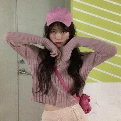 2020新款chic韩版修身显瘦V领纯色坑条短款长袖针织开衫