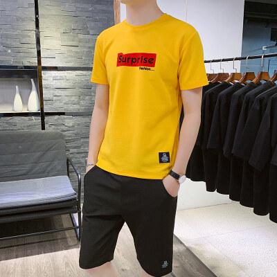 2020夏季新款男士短袖休闲运动套装潮流ins宽松港风两件套